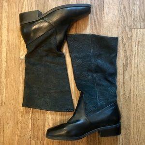 Markon leather rose embellished boots
